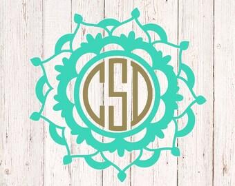 Custom Flower Decal, Car Sticker, Yeti Decal, Flower Decal Monogram, Mandala Decal, Car Decal, Vinyl Monogram Decal