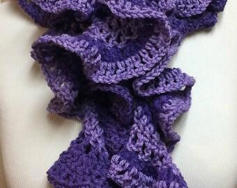 Purple Ruffle Scarf, Skinny Spiral Scarf, Purple Crochet Scarf, Skinny Long Scarf, Fashion Scarf, Gifts for Her, Lightweight Scarf