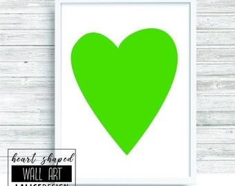 Green Heart Shaped nursery printable wall art - A3 size - home decor