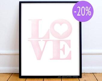 Love print, Pink nursery wall art, Love wall art, Girl room decor, Love quote, Watercolor Printable poster,  #0002P