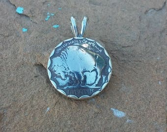 Buffalo nickel pendent, set in sterling silver, I dome the buffalo nickle so it gives it some dimension and then set in sterling pendent
