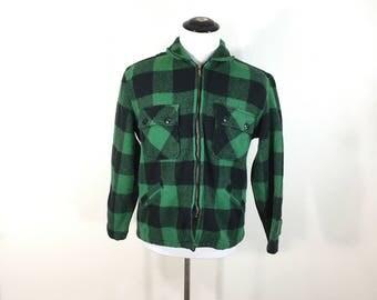 60's vintage shadow plaid 100% wool zip us jacket size M