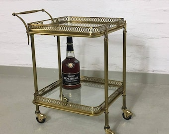 Type Deco trolley with Messingestell and glass shelves