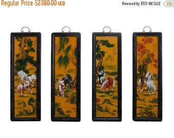 "wholestoreSALE Chinese Porcelain ""Eight Horse"" 4 Pieces Wall Panel Set vs846e"