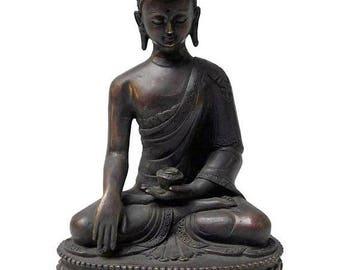 wholestoreSALE Fine Handmade Bronze Lotus Base Meditation Gautama Shakyamuni Buddha Statue n284E