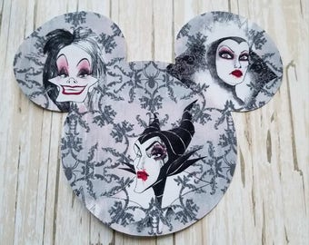 "HUGE 7""x8"" Disneyland Disney Villians Mickey Mouse Fabric Iron On Applique DIY No Sew, Maleficent, Cruella Deville , Matching Shirts"