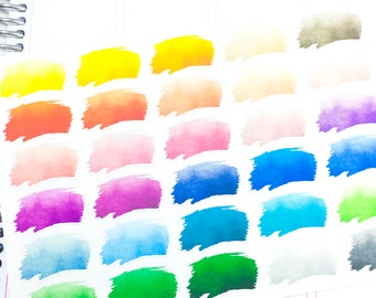 Functional - watercolor paint stroke  Planner Sticker, wateercolor sticker, paint splatter sticker, paint stroke sticker, functional sticker