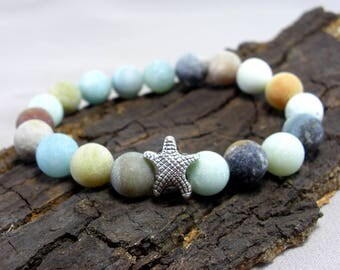 Bracelet Starfish and Amazonite Matt