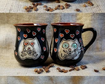 Coffee gift for girlfriend mugs Cat mug set Ceramic mug set Stoneware coffee mug Bridal shower gift Funny coffee mugs Love gift Heart mug