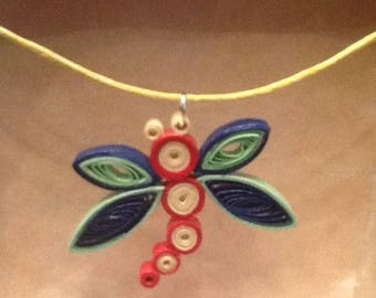 Quilling paper rolled pendant necklace