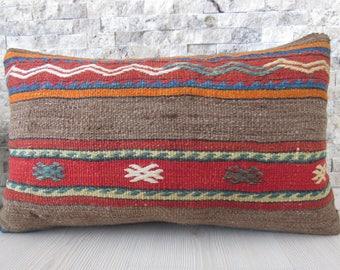 Kilim Pillow Cover 12x20 Handmade Kilim Rug Decorative Kilim Pillow Turkish Pillow Kelim Cushion Bohemian Pillow Kilim Pillows