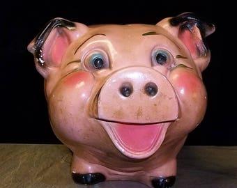 Vintage A.N. Brooks Large Chalkware Merchandise Mart Chicago Pat Pending Pig Piggy Bank