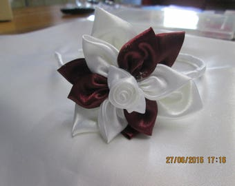 Burgundy and white flower and white satin covered metal headband