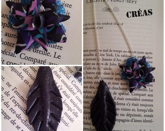 Bookmark original jewelry flower and leaf polymer clay