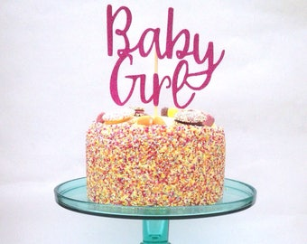 Cake Topper, Baby Girl topper, glitter cake topper, new baby cake topper, baby shower cake topper, baby shower cake decoration