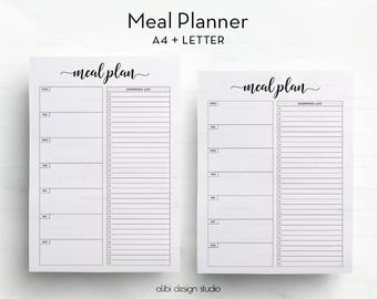 Meal Planner, A4 Printable, Meal planning, Weekly Meal Planner, Printable Planner, A4 Inserts, Meal Tracker, Weekly Planner, Daily Schedule