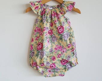 Baby girls playsuit // flutter sleeve // romper // yellow // pink // purple // floral // spring // baby gift // baby shower