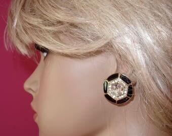 Vintage TRIFARI Signed Large Enameled Black and Gold  Exquisite Round Rhinestone Pierced Earrings