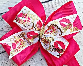 Valentines Hair Bow, Hugs and Kisses Hair Bow, Pink Valentines Bow, Valentine Gift for Girl, Pink and Gold Hair Bow, Valentines Bow for Girl