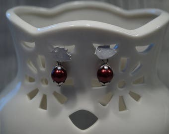 Bird earrings with red Pearl
