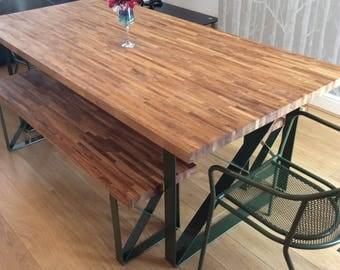 Oak Dining Table & Benches | Handmade Bespoke Steel Legs | All Sizes Custom Made