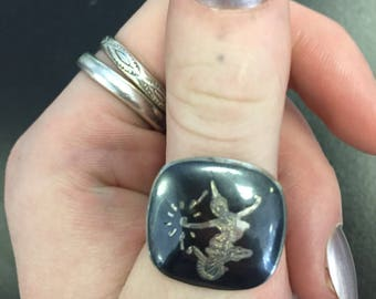 Sterling silver NIELLO siam ring