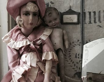 Magical boudoir doll, shabby charming, ca 1920, rare