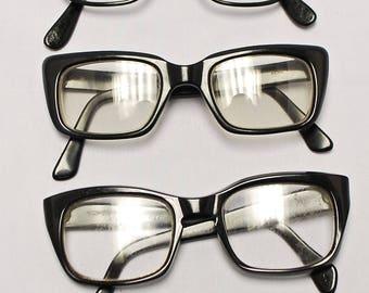 SET of 5 Pairs Vintage Black 1950's / 60's  Horn Rim Eyeglasses (bulk lot 127)