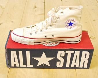 Vintage 1990's Deadstock White CONVERSE CHUCK TAYLOR Hi-Top Sneakers / Converse All Star Runners / Made in U.S.A. / Retro Collectable Rare
