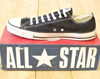 Vintage 1990's Deadstock Black CONVERSE CHUCK TAYLOR Lo-Top Sneakers / Size 13 / Made in U.S.A. / Retro Collectable Rare