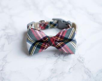 Tartan Dog Bowtie Collar, Winter Cat Bow Tie Collar, Rose Gold Hardware, Boy Girl Dog Collar, Girly Cat Collar, Feminine Puppy Kitten Collar