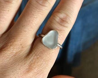 White Sea Glass Ring; Sterling Silver; Size 6 1/2; Boho