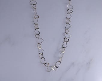 """Sterling Silver Cut Out Hearts Necklace (24"""") (k)"""