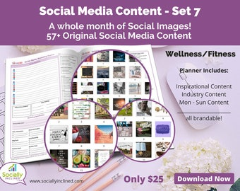 Social Media Images - Content for Fitness / wellness (SET 7) -- 57+ original images with blank planner pages, checklists, tasks, and goals