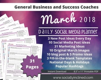 Social Media Planner, 93 social post ideas, 31 marketing tips, templates, blog posts, and promos ideas- March Etsy Seller Business Planner