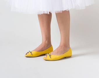 Wedding shoes, Yellow wedding shoes, Yellow shoes, Wedding shoes, Peep toe, leather shoes, Bridal shoes flats, flat wedding shoes, flats