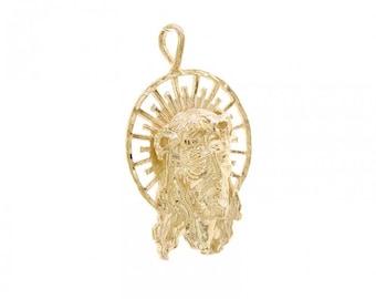 14K Yellow Gold Jesus Head Pendant