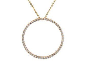 0.65 Carat Diamond Classic Round Eternity Pendant 14K Yellow Gold
