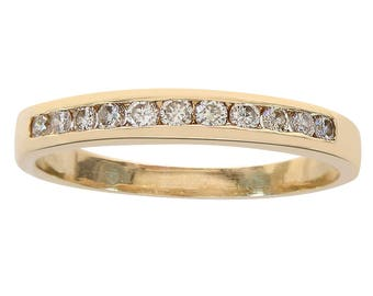 0.25 Carat Round Cut Diamond Wedding Band 14K Yellow Gold