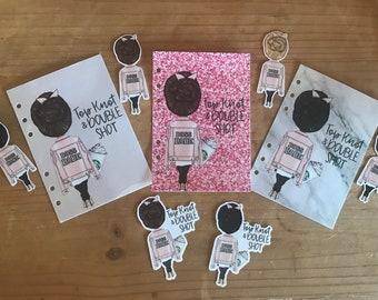 Coffee girl dashboard or die cut. Elle doll dashboard. Pocket, personal, A5, foxy fix personal wide dashboard.