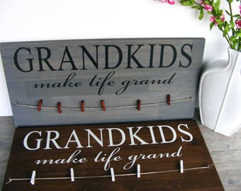 Christmas Gifts for Grandma - Gift for Grandparents - Grandkids Sign - Grandparent Announcement - Grandparents Picture Frame