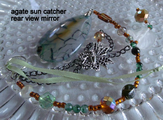 Green sun catcher - dragon vein agate - winged fairy -  frosted leaf - dorm gift - agate window decor - housewarming gift - Lizporiginals