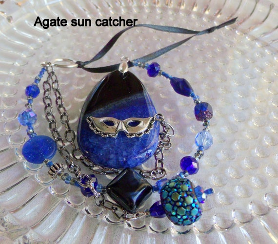 Navy peony blue sun catcher - agate pendant - gemstone - mask charm  - Mardi gras  gift - window ornament - student gift - Lizporiginals