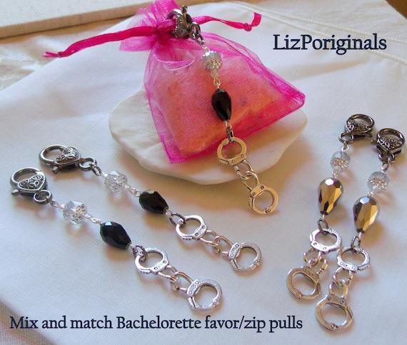 Naughty Bachelorette favors - zipper pulls - gift bag charm -  bondage add on - hand cuff silver - Team bride - black party keepsake