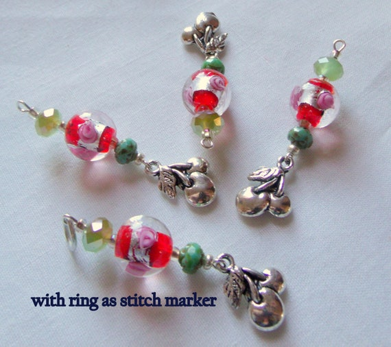 Cherry Zipper pull - enamel charms - fruit stitch markers - pink green beads - 2.5  inch long - for knitter /crochet -  gift set - cherries