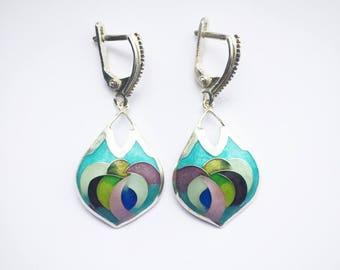 Cloisonne Enamel Earrings, Sterling Silver