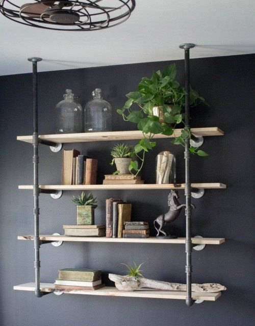 Black Pipe Shelving Unit, Wall/Ceiling Mounted Bookshelf, Parts Kit DIY  Project, 3 brackets - 4 Shelves, 58 Tall & 10 deep