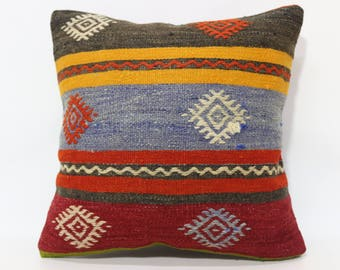 20x20 Anatolian Kilim Pillow Turkish Kilim Pillow Sofa Pillow 20x20 Floor Pillow Embroidered Kilim Pillow Cushion Cover  SP5050-2163