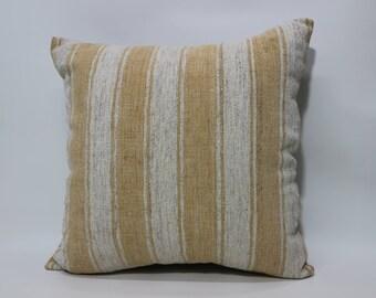 White  Striped Kilim Pillow 20x20 Kilim Pillow Anatolian Pillow Turkish Kilim Pillow Handmade Pillow Decorative Kilim Pillow SP5050-2195