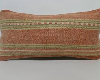 Decorative Pillow Natural Pillow 10x20 Faded Kilim Pillow boho pillow Embroidered Pillow Lumbar Pillow Floor Pillow Room Decor SP2550-1401